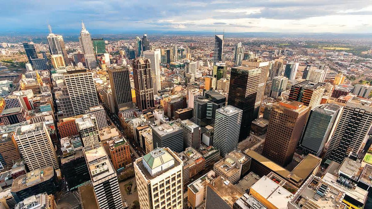 aerial view of melbourne city