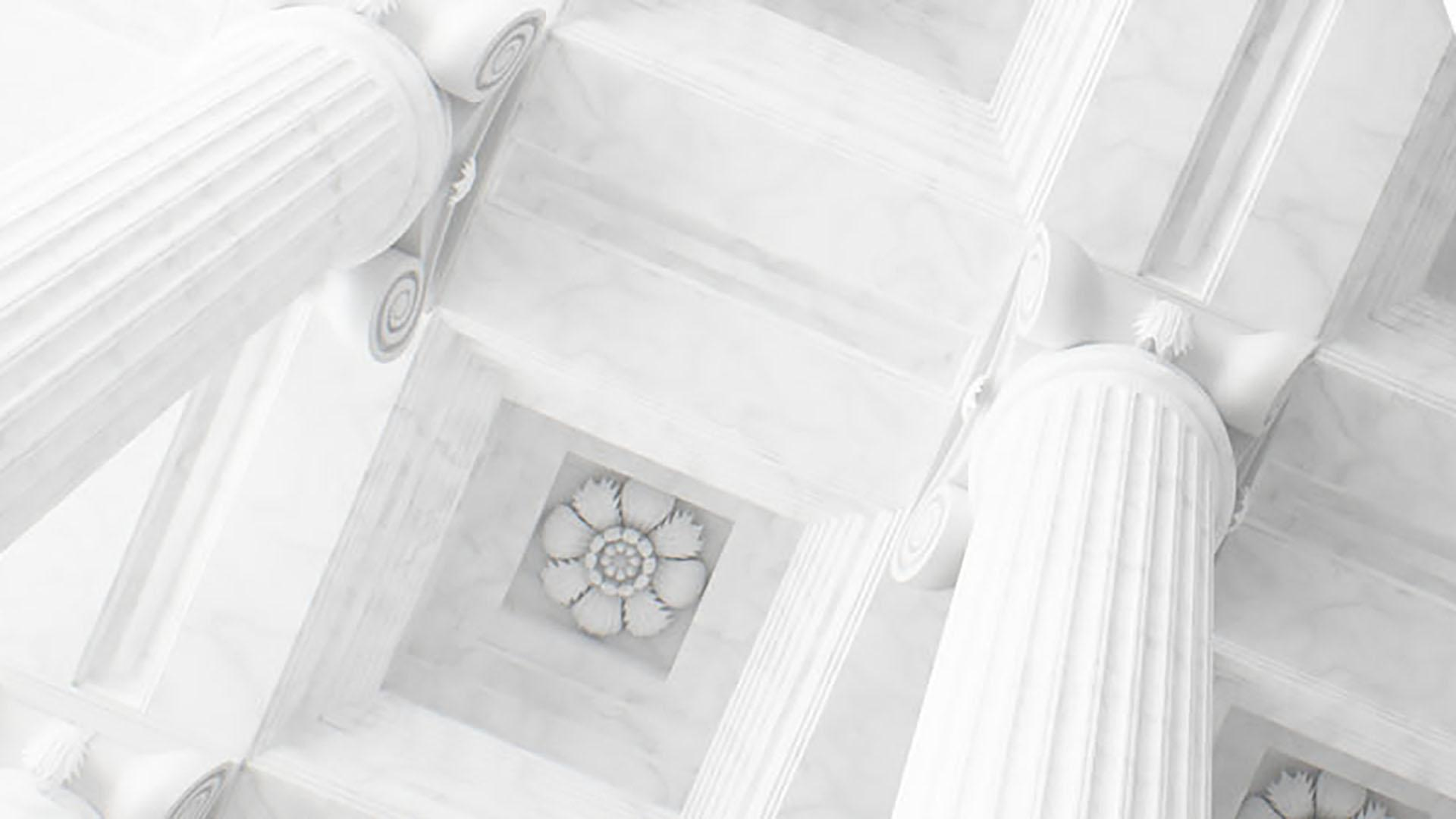Ceiling of white classical architecture